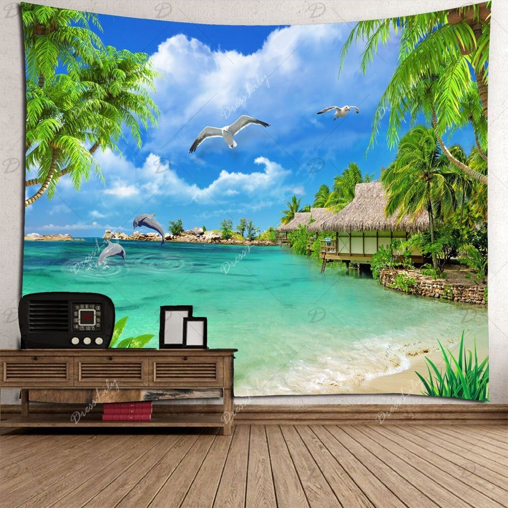 Creative 3D Tapestry Hanging Art Poster Waterproof Tapestry Seascape Decor O