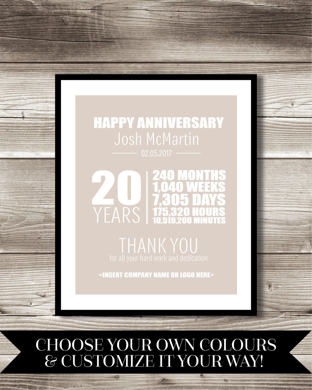 20 Year Work Anniversary Print, Gift, Digital Print