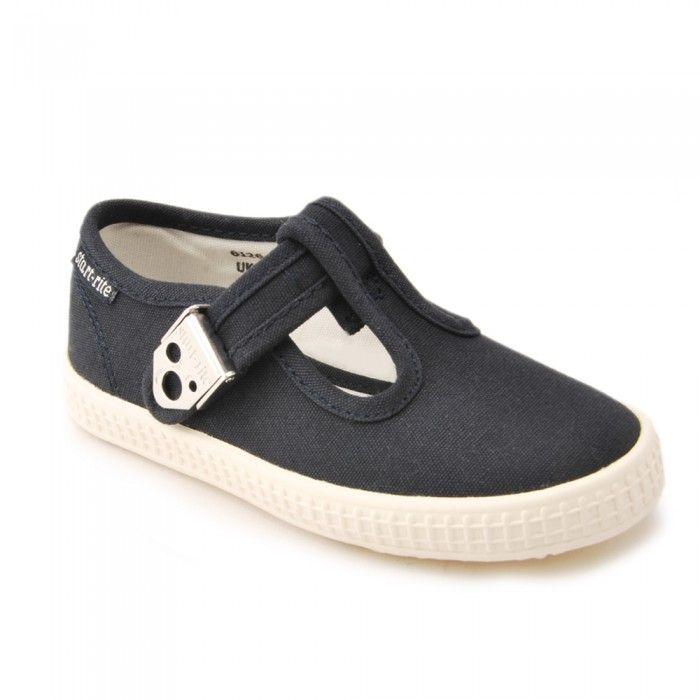 Wells Navy Blue Boys T-Bar Canvas Shoes