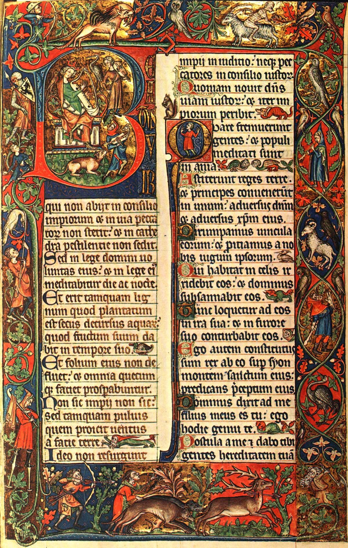 Image 105 Opening of Psalm 1 from the Peterborough Psalter now in Brussels (c.1300-1318)
