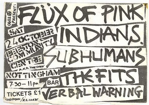 Flux Of Pink Indians & Subhumans flyer…