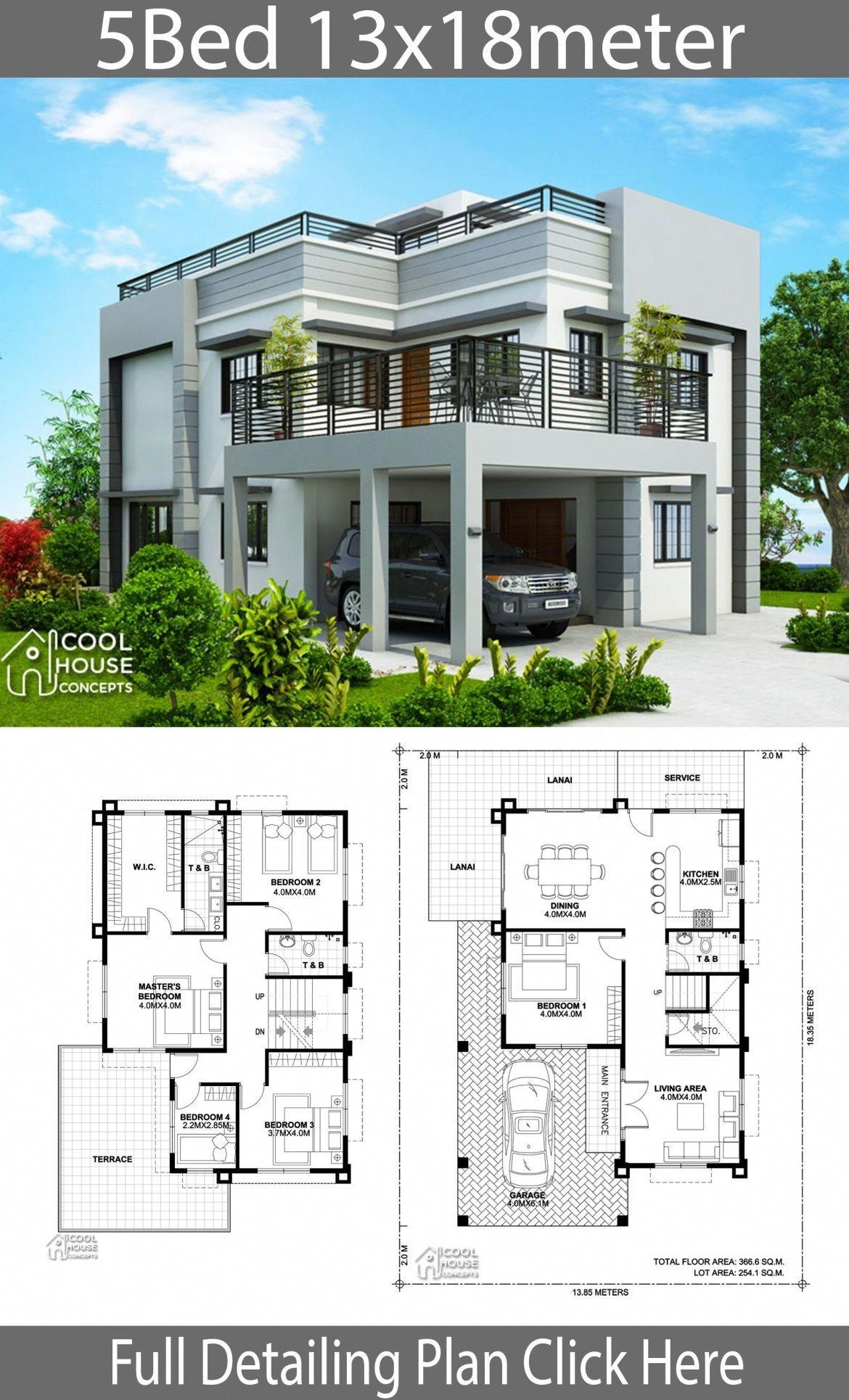 Home Design Plan 13x18m With 5 Bedrooms Home Planssearch Homeinteriordesigns Model House Plan Duplex House Design House Architecture Design