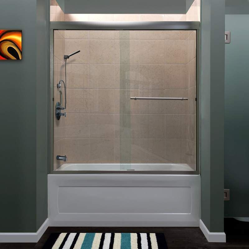Miseno Msdc6060 Bn Brushed Nickel Azul 60 High X 60 Wide Semi Framed Shower Door With Clear Glass And H2off Technology Framed Shower Door Shower Doors Frameless Shower Doors
