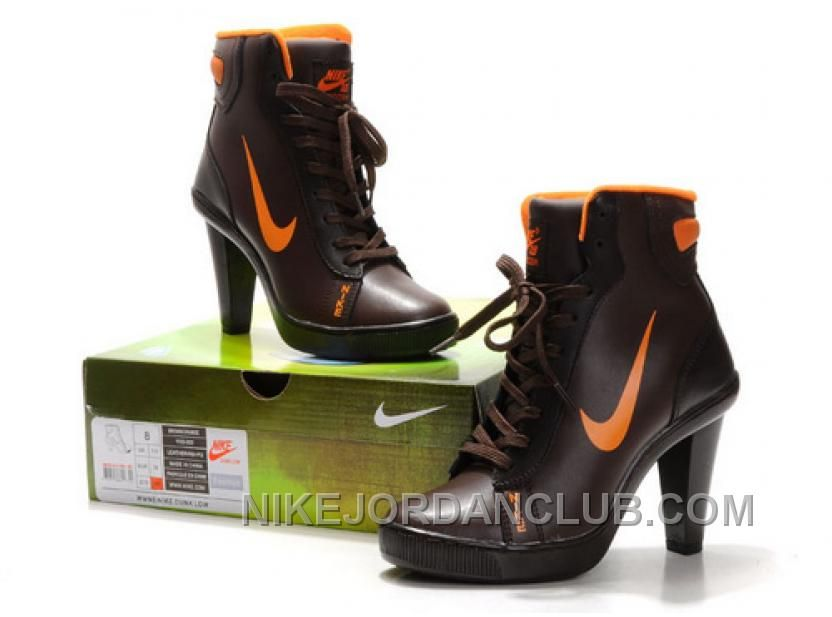 Women's Nike Dunk High Heels High Shoes Dark Brown/Orange Authentic