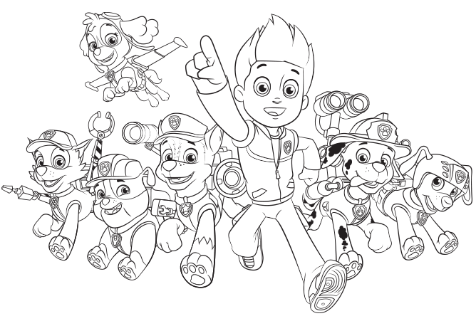 Paw Patrol Nickelodeon Coloring Pages : Paw patrol group create nick jr colouring pages