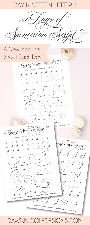Spencerian Script Style: Letter S Worksheets | Hand ...