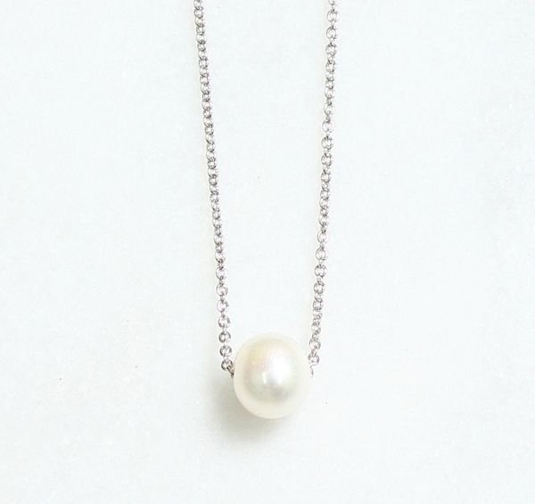 Floating Freshwater Pearl Silver Necklace