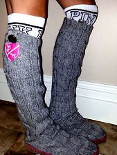 Victorias Secret Gray Mukluk Sweater Knit Sock Boot Slippers So