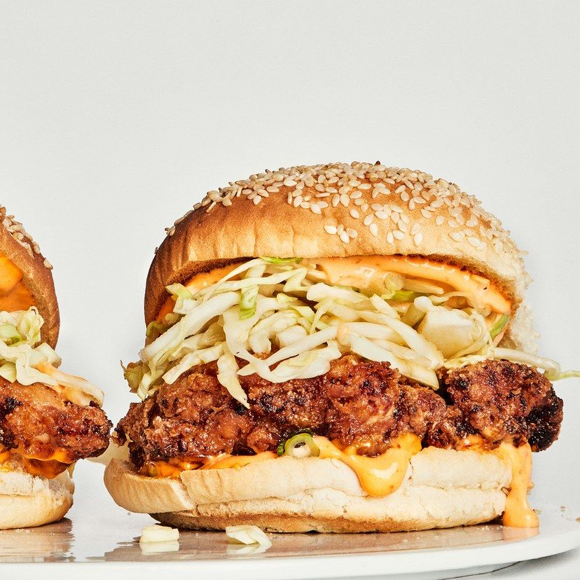 The Basically Fried Chicken Sandwich Recipe Fried Chicken Sandwich Breaded Chicken Thighs Chicken Sandwich Recipes