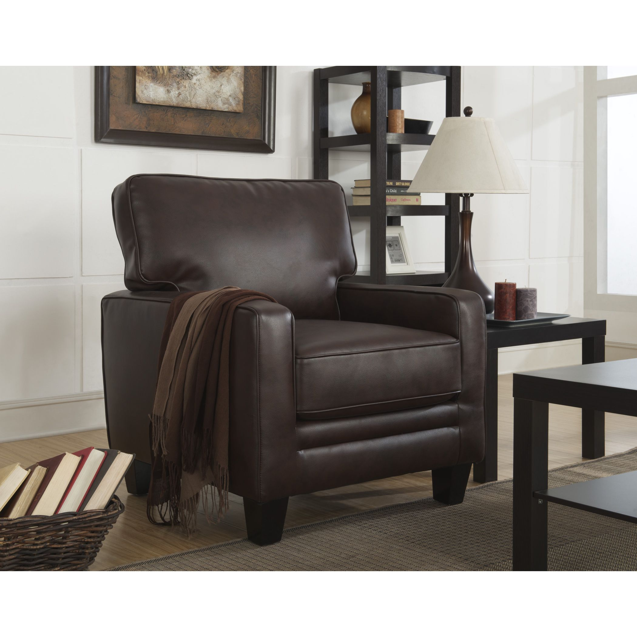 Refined and classic, the bonded-leather used is eco-friendly and stylish. Easily assembled and extremely comfortable, add this accent chair to your living room or study for a relaxing, timeless look.
