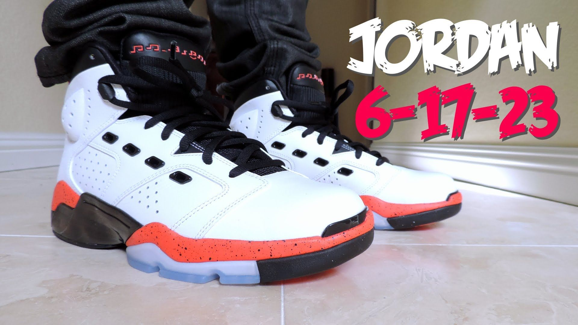 This is an on feet video for the Air Jordan 'Infrared This sneaker has a  hybrid design of the Jordan Retro 6 and Retro 17 Mossman
