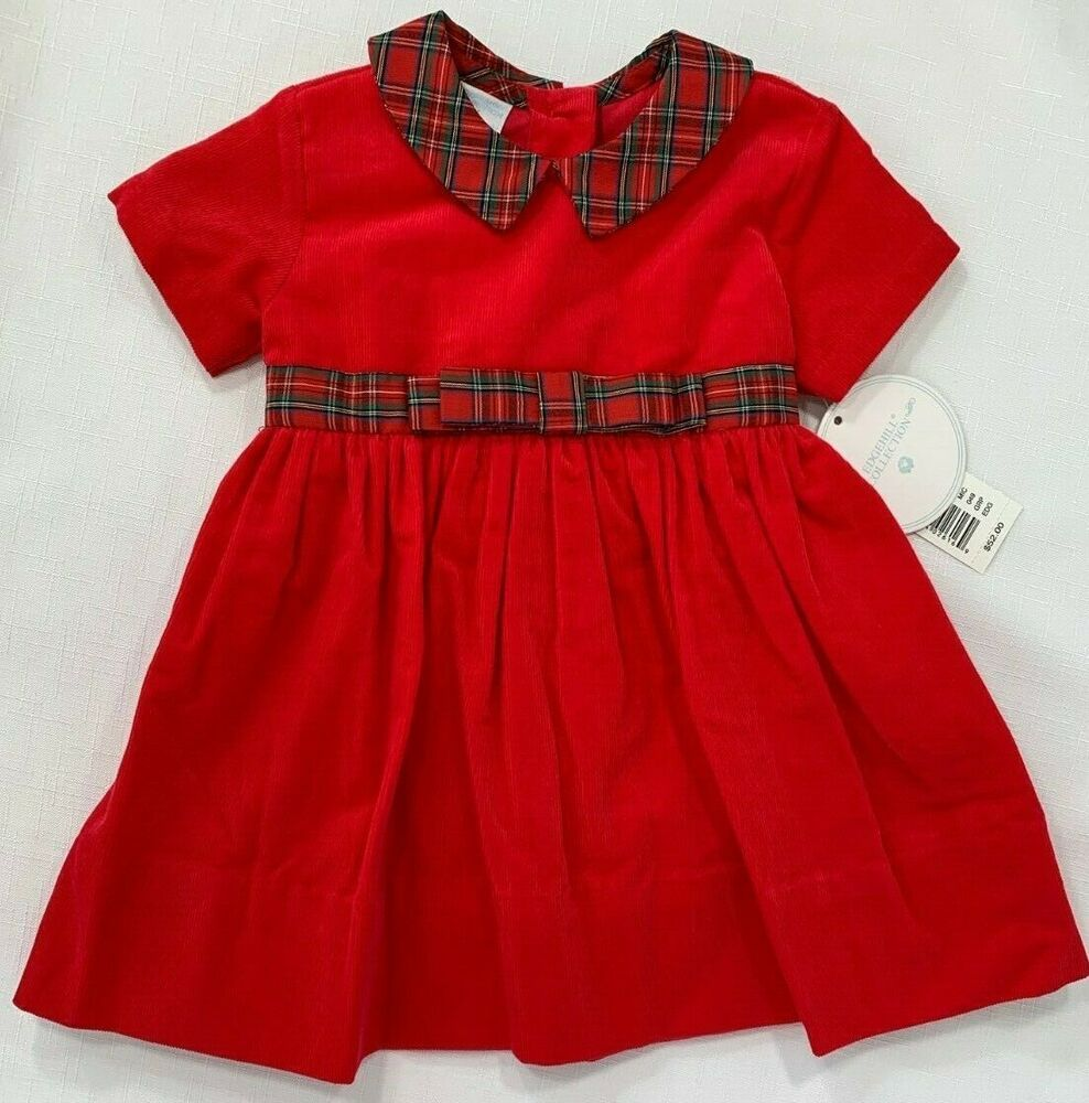 NWT Edgehill Baby Girls 3 or 6 Month Red Corduroy Holiday Plaid Dress RV $52 #EdgehillCollection #Corduroy #Holiday #ChristmasDress #HolidayOutfit #Pictures #BabysfirstChristmas
