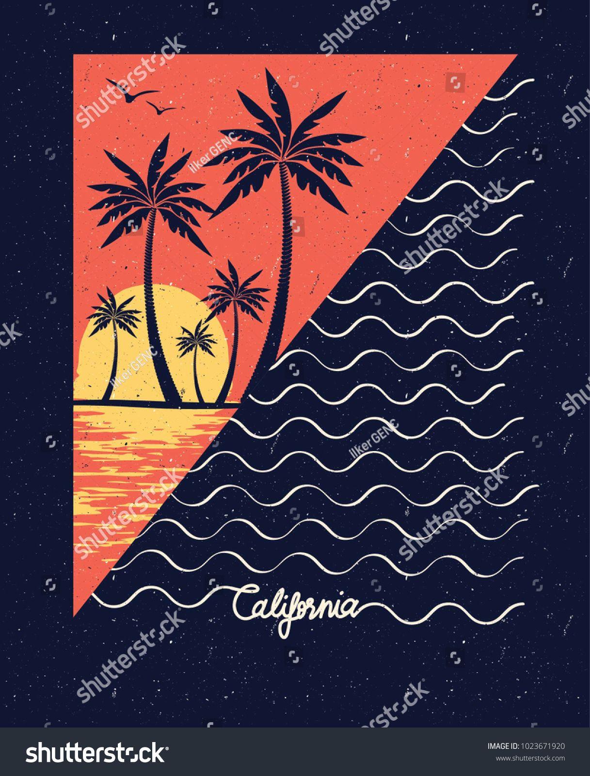 Sunset Wave Surf Palm Beach Vintage Retro California Slogan Summer Style Vector Design Tropical Par Retro California California Illustration Beach Illustration