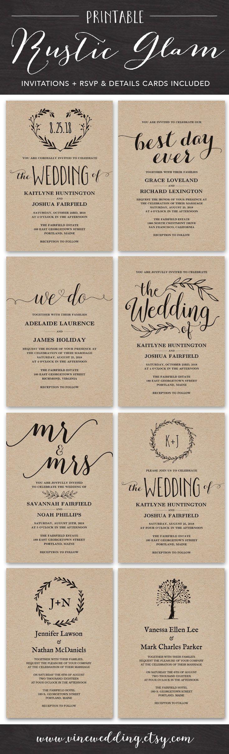Rustic wedding invitations printable diy wedding invitation