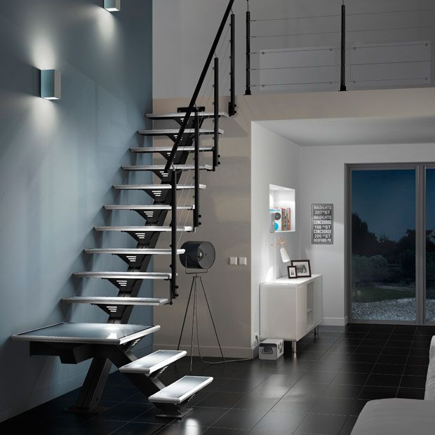 escalier droit m tal verre urban lapeyre id es pour la. Black Bedroom Furniture Sets. Home Design Ideas