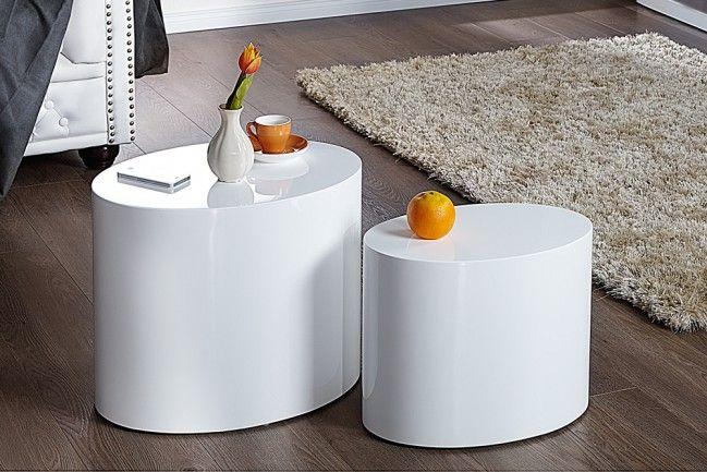 Design Beistelltisch 2er Set Division 50cm Hochglanz Weiss Oval