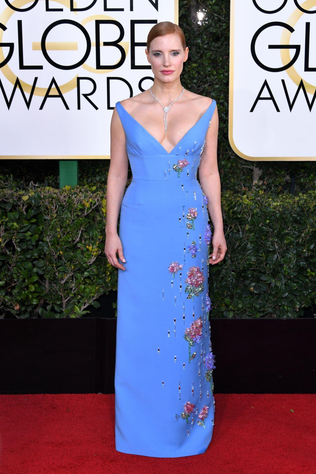 Jessica Chastain in Prada at 2017 Golden Globe Awards in Beverly Hills