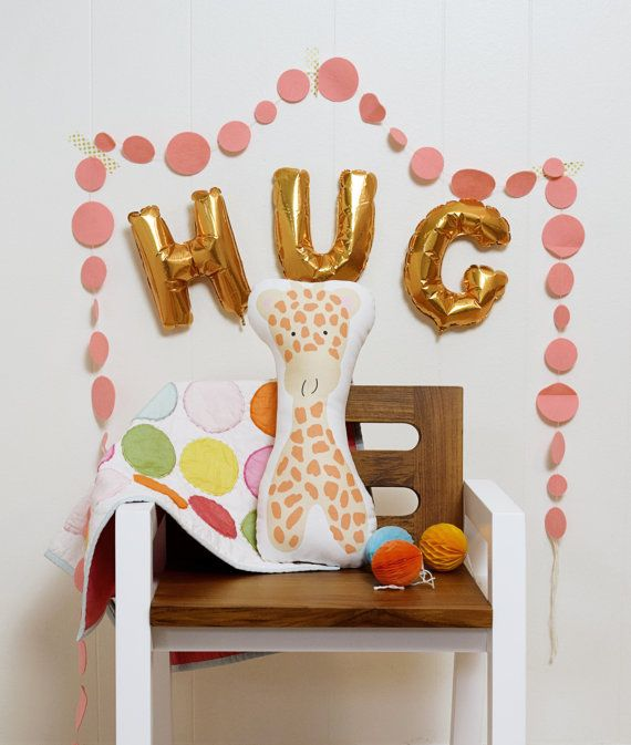 Gabbie the giraffe is cute and sweet - but shell talk your ear off if you let her : ) Shes custom printed on a rich, eco-friendly, rich, linen/cotton