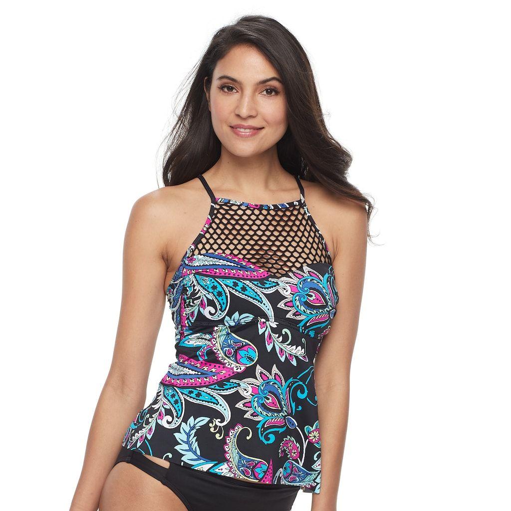 f9d1e8262e1d4 Women's Aqua Couture Bust Enhancer Geometric Flyaway Tankini Top | Products  | Tankini top, Tankini, Tops