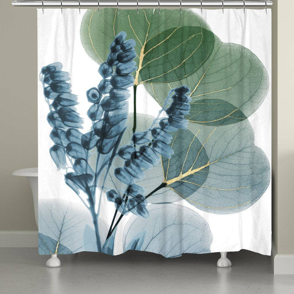 Lily And Eucalyptus Leaf X Ray Shower Curtain Floral Shower