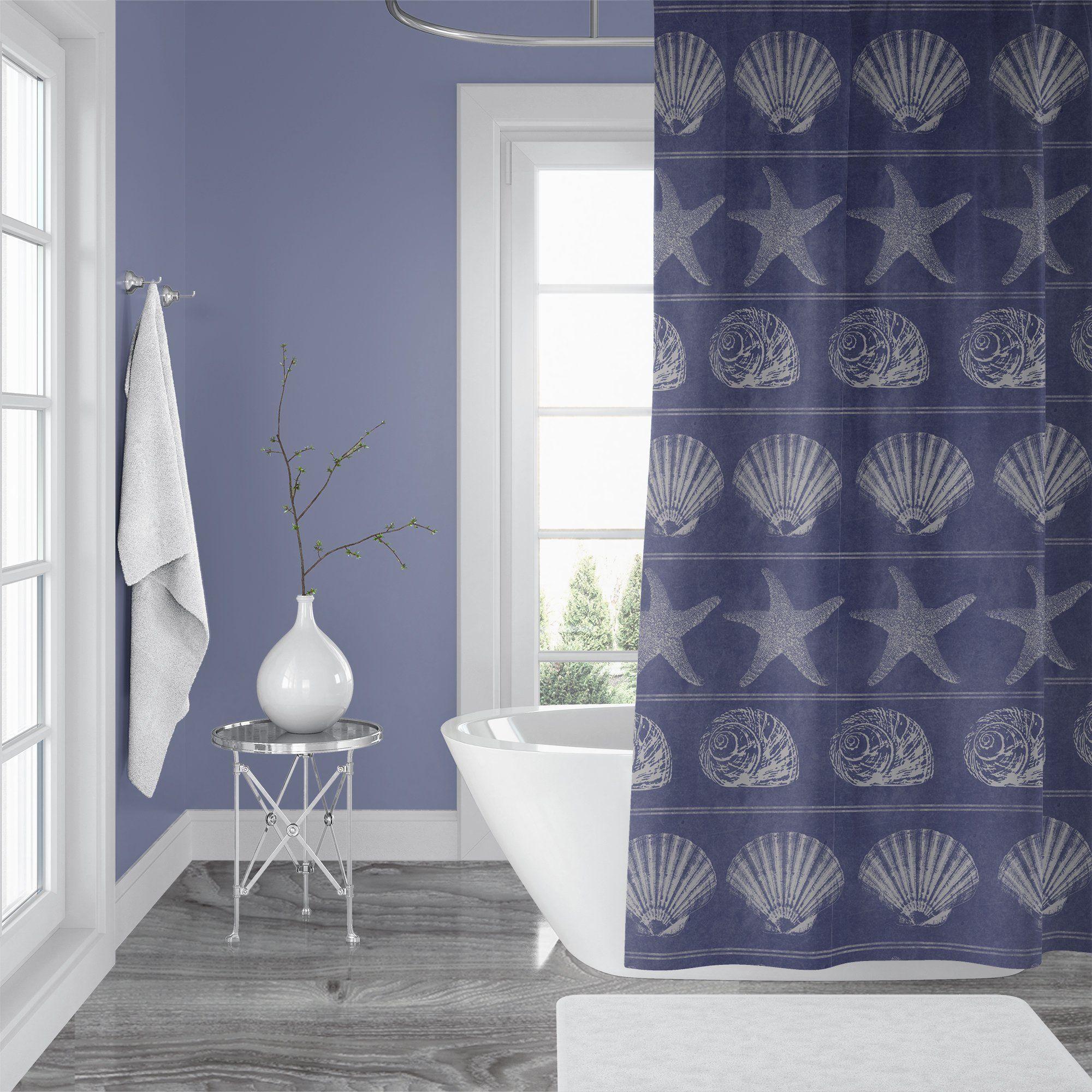 Periwinkle Blue Beach House Bathroom Shell Shower Curtain