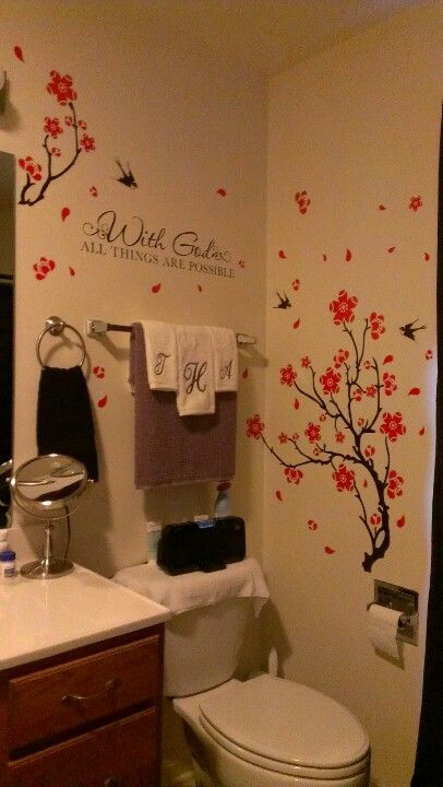 Bathrooms almost done... I love love wall decals.