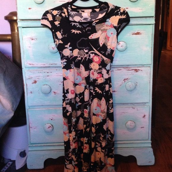 Topaz USA Topaz USA ,flowery and butterfly dress , made of spandex , one side is longer , size M , topaz  Dresses Midi