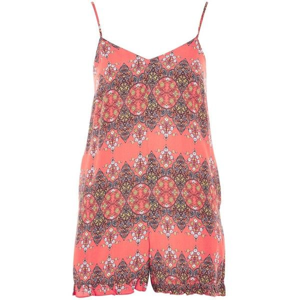 Delphine Folk Frill Hem Playsuit by Nobody's Child (€28) ❤ liked on Polyvore featuring jumpsuits, rompers, orange, print romper, playsuit romper, orange romper, skinny leg romper and patterned romper