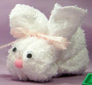 washcloth easter bunny - reminds me of childhood
