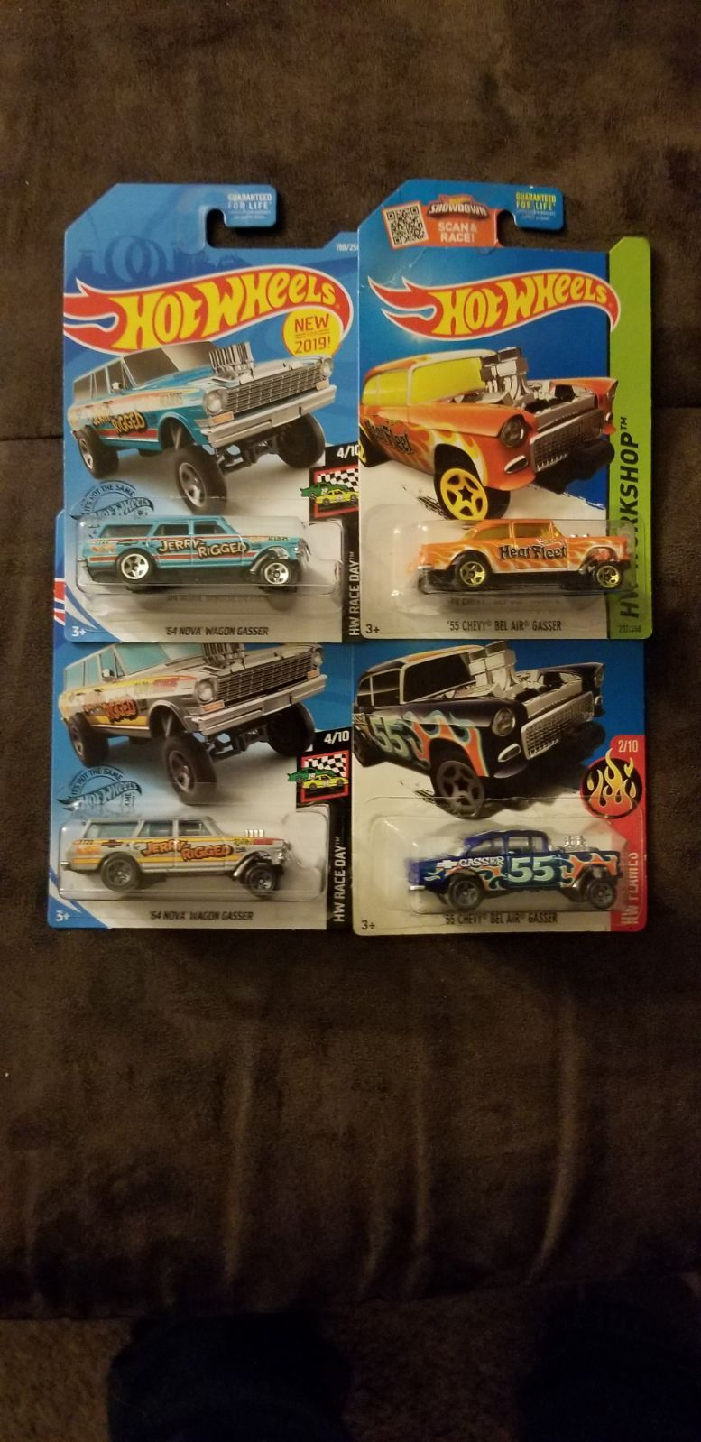 4 Hot Wheels Gassers 2 Jerry Rigged Wagons And 2 55 Bel Air