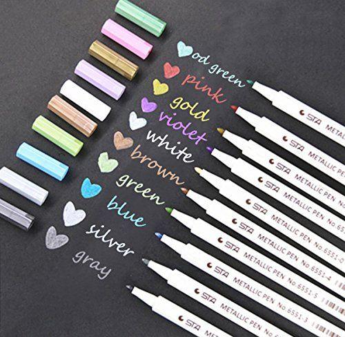 Metallic Markers Paint Pen Calligraphy Brush Pens for DIY Greeting card 10 pcs