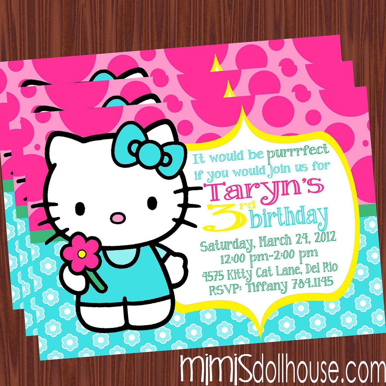 Hello Kitty InvitationHello Kitty Birthday Invitation PDFJPEG – Custom Hello Kitty Birthday Invitations