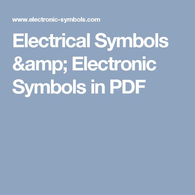 Electrical Symbols Electronic Symbols In Pdf Electronics