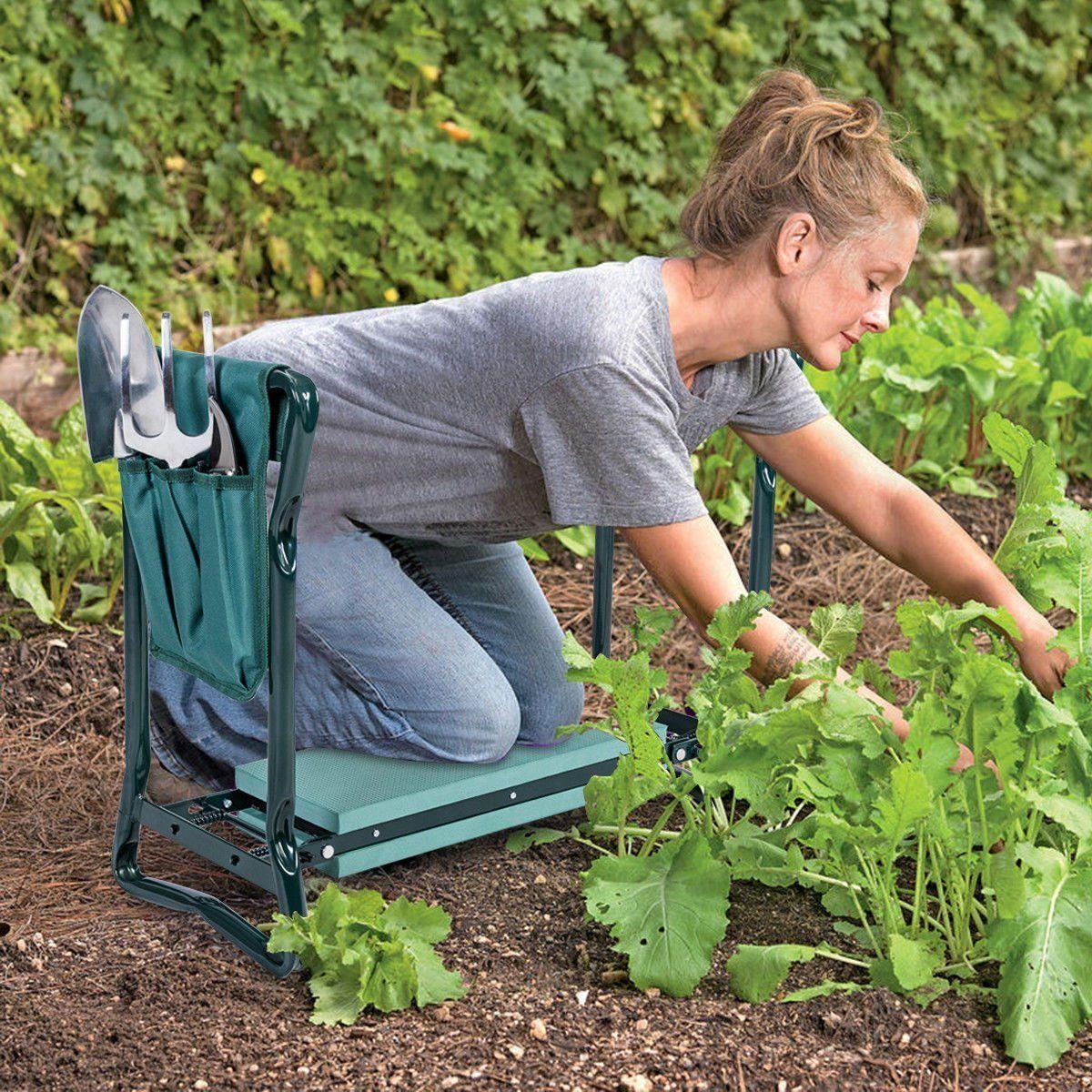 Folding Sturdy Garden Kneeler Pad Cushion Seat Garden Kneeler Garden Bags Portable Garden
