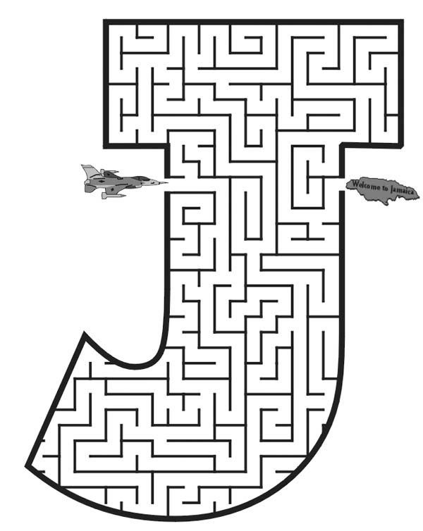 Capital Letter J Maze Coloring Page Mazes For Kids Printable Mazes Mazes For Kids Printable