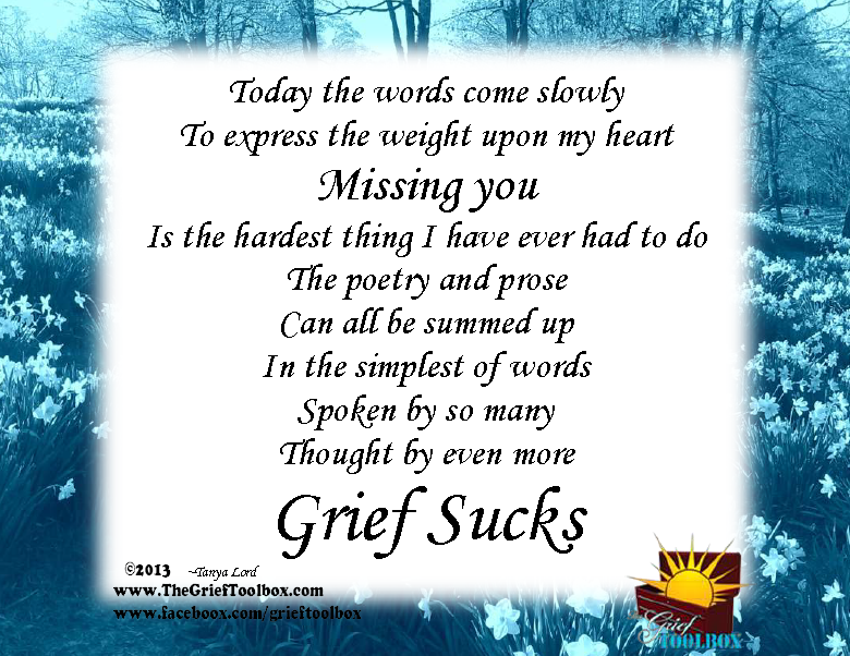 Grief Sucks A Poem | The Grief Toolbox | Grief support photoart ...