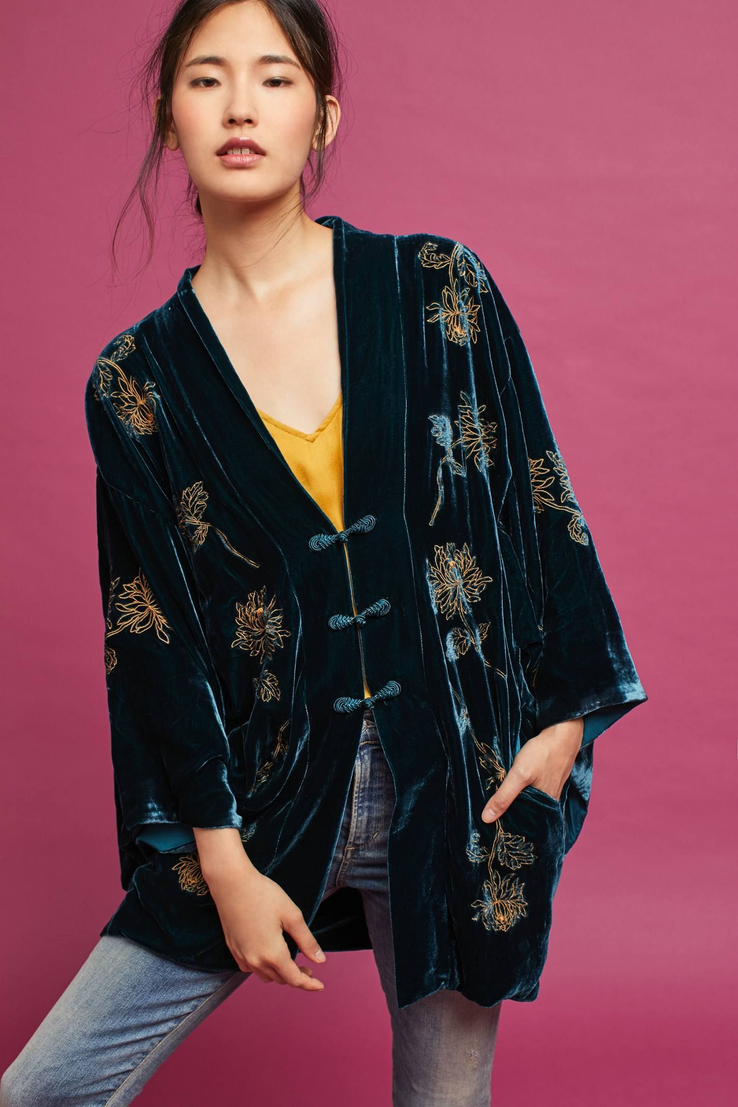 fdbe413b7806 Shop the Velvet Embroidered Kimono and more Anthropologie at Anthropologie  today. Read customer reviews