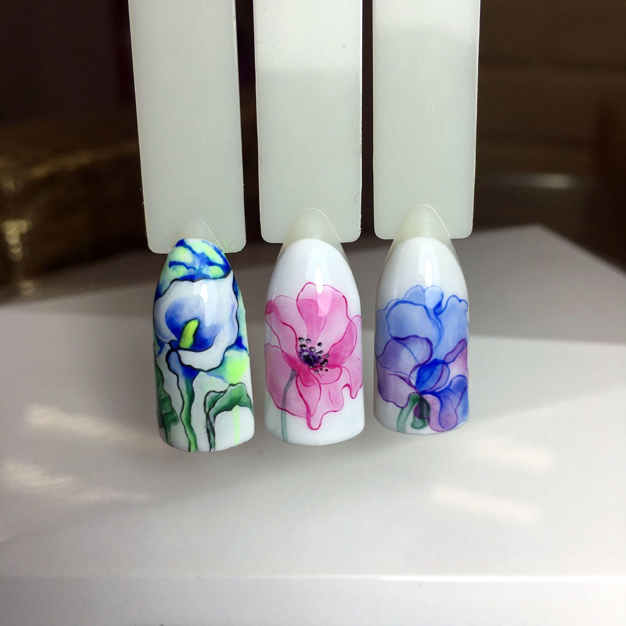 Ногти акварельная роспись картинки