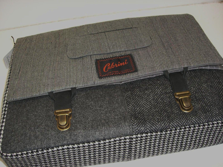 Messenger Bag, Laptop Sleeve, Trunk Latch,  Large, Recycled Suit Coat. $120.00, via Etsy.