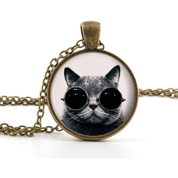 Steampunk Cat Pendant - Cat Necklace - Photo Jewelry - Vintage Cool... ($14) ❤ liked on Polyvore