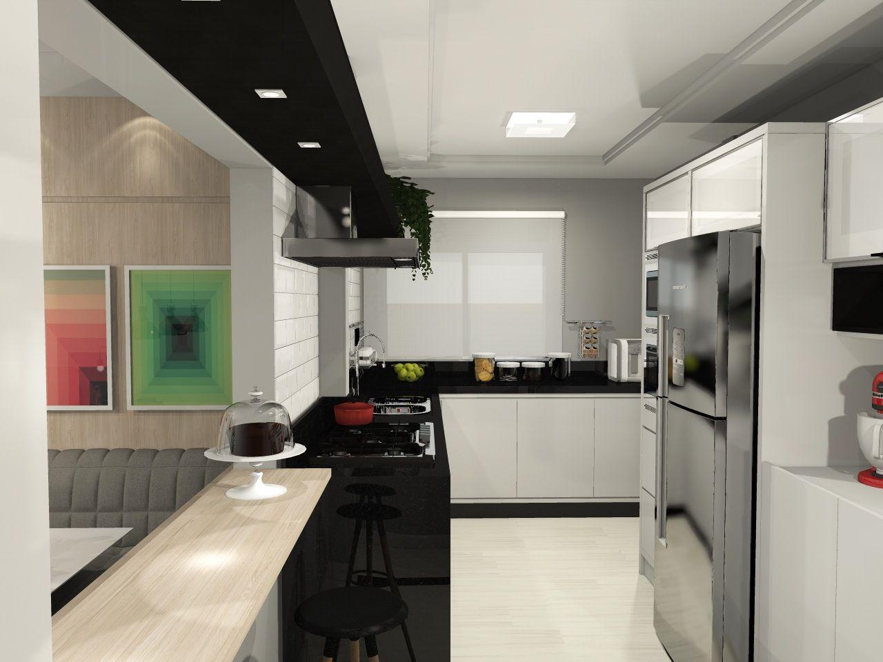 Cozinha Integrada Jovem E Descolada Reforma Parede Cinza Sala