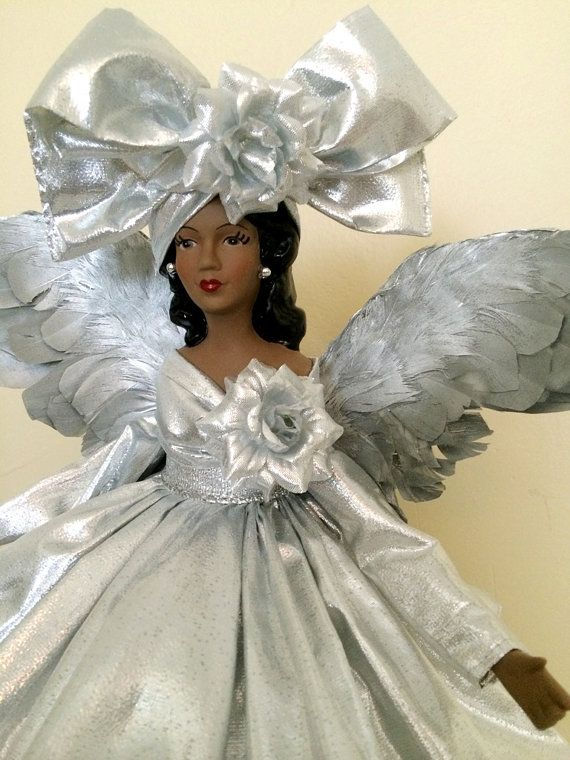 Black Angel Christmas Tree Topper.Silver Christmas Angel Tree Topper African American Ooak