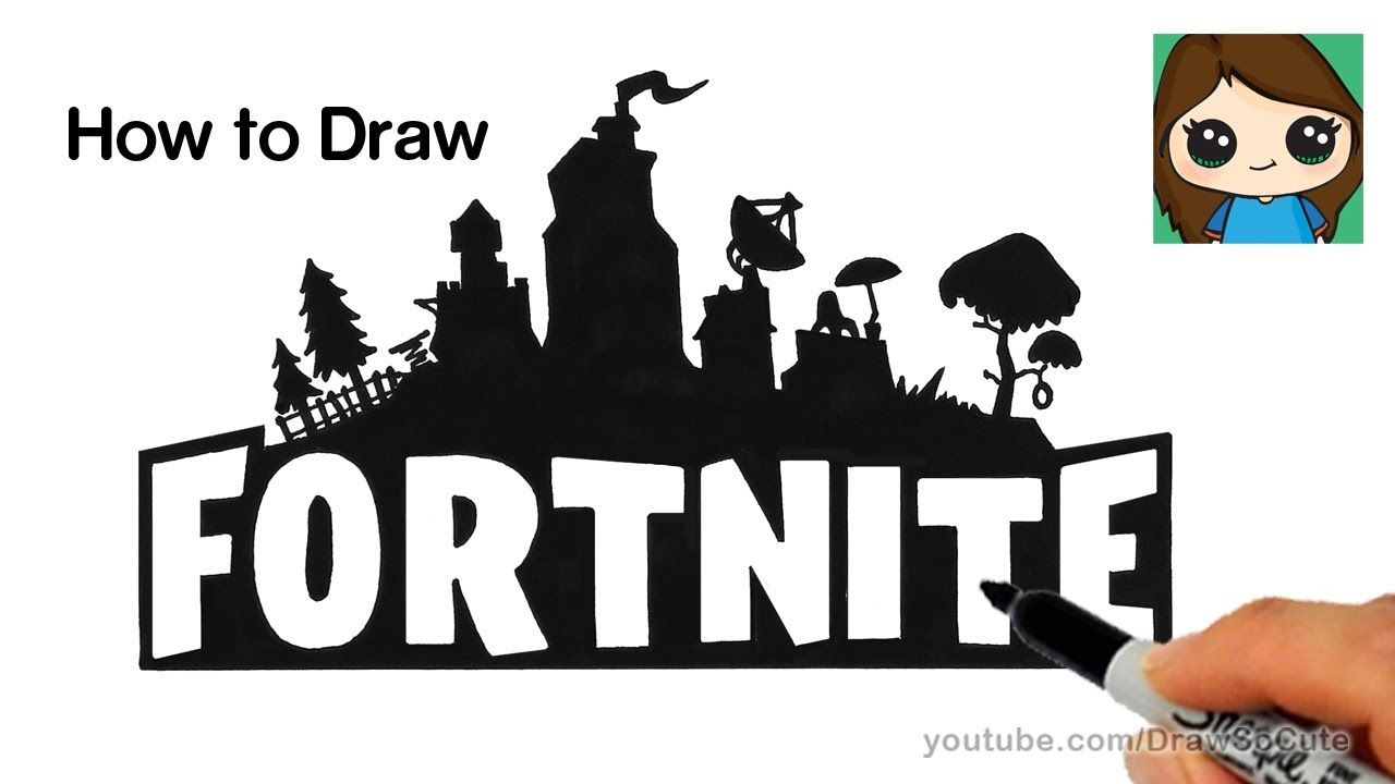 How To Draw Fortnite Logo Easy Drawing Lessons For Kids Cute Drawings Drawings