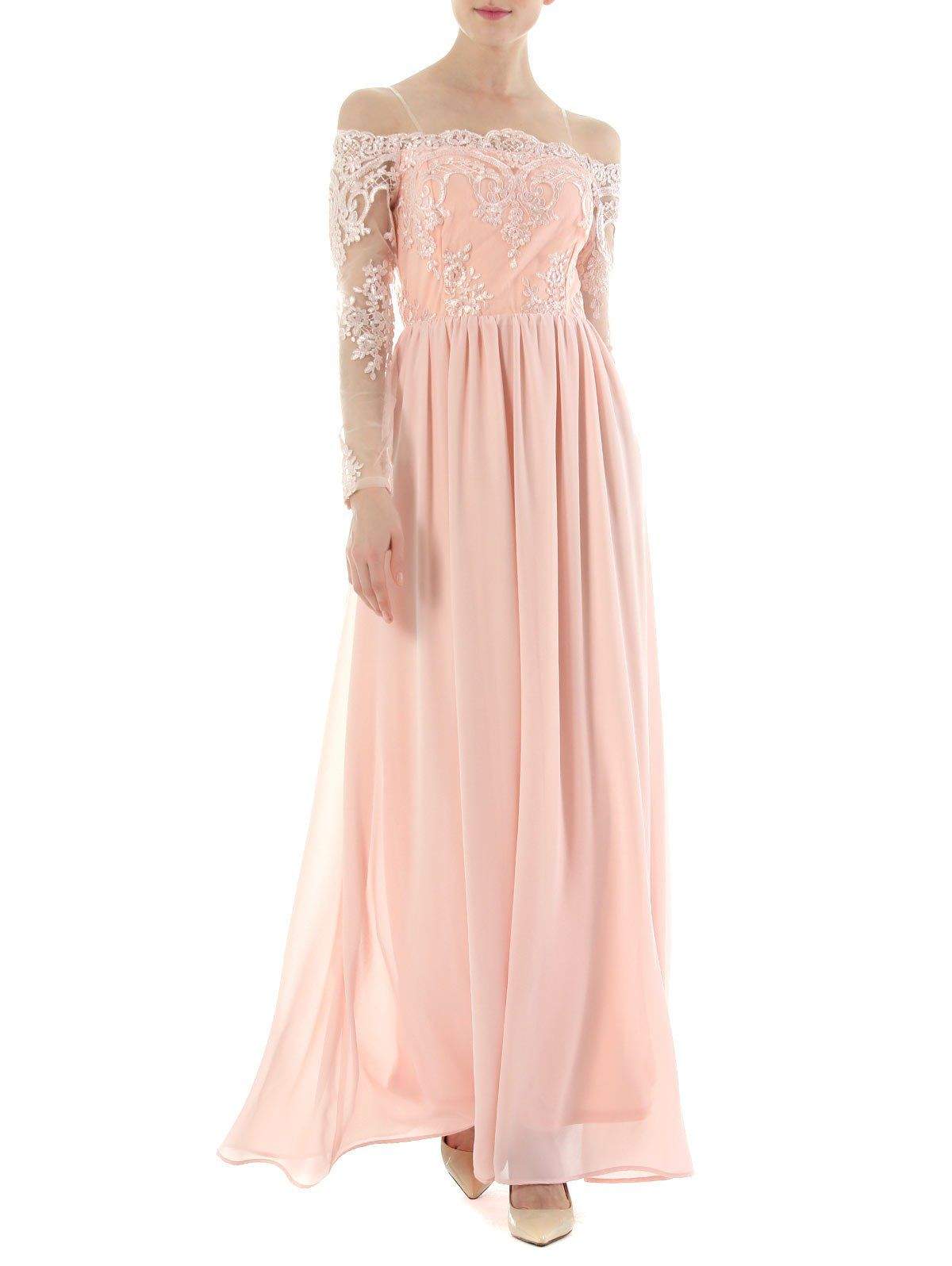 Lace Insert High Waist Formal Prom Dress - PINK S (With ...