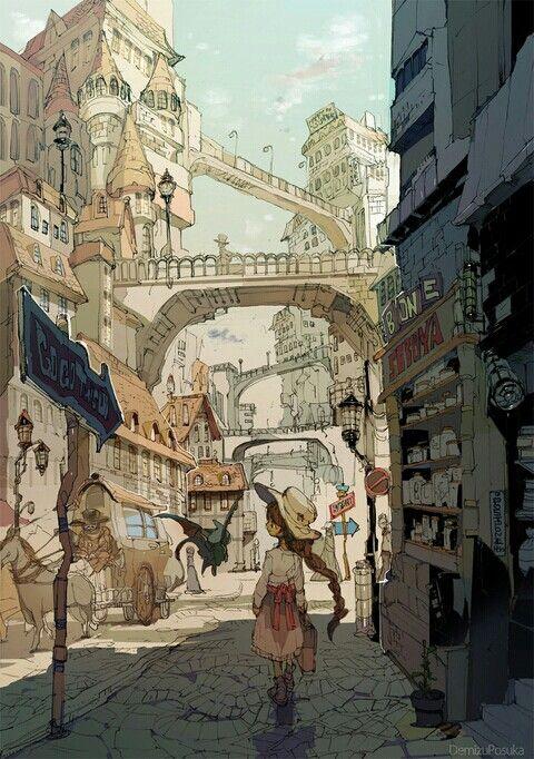 Anime Drawing Exploring A New City Lukisan Digital Seni Cat Air Ilustrator