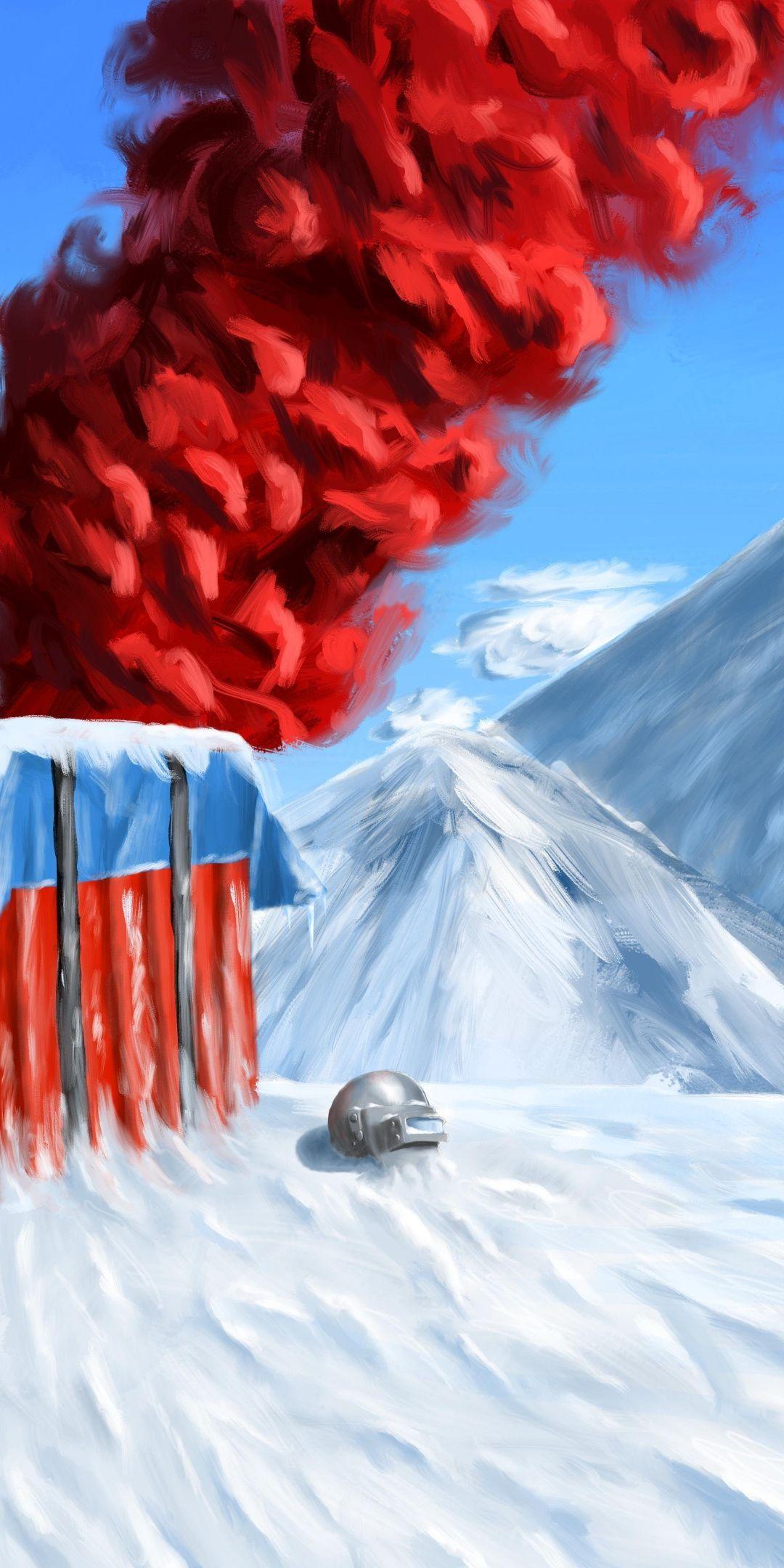 PUBG, winter, mountains, landscape, red smoke, art