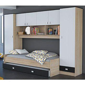 Schwebetürenschrank grau schwarz  Schrankbett grau / weiß / schwarz B 308 cm Jugendbett Wandbett ...