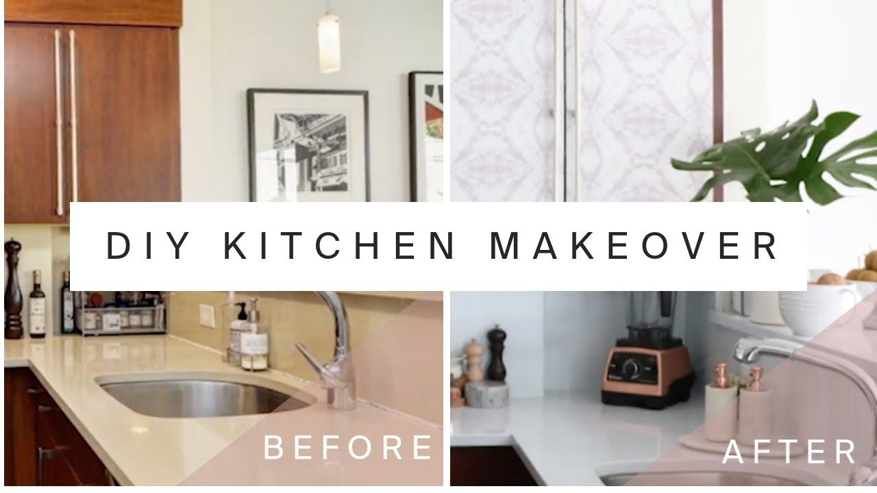 Rental Kitchen Makeover Diy Marble Countertops Cabinet Transformation With Contact Paper Yout Kitchen Diy Makeover Rental Kitchen Makeover Rental Kitchen
