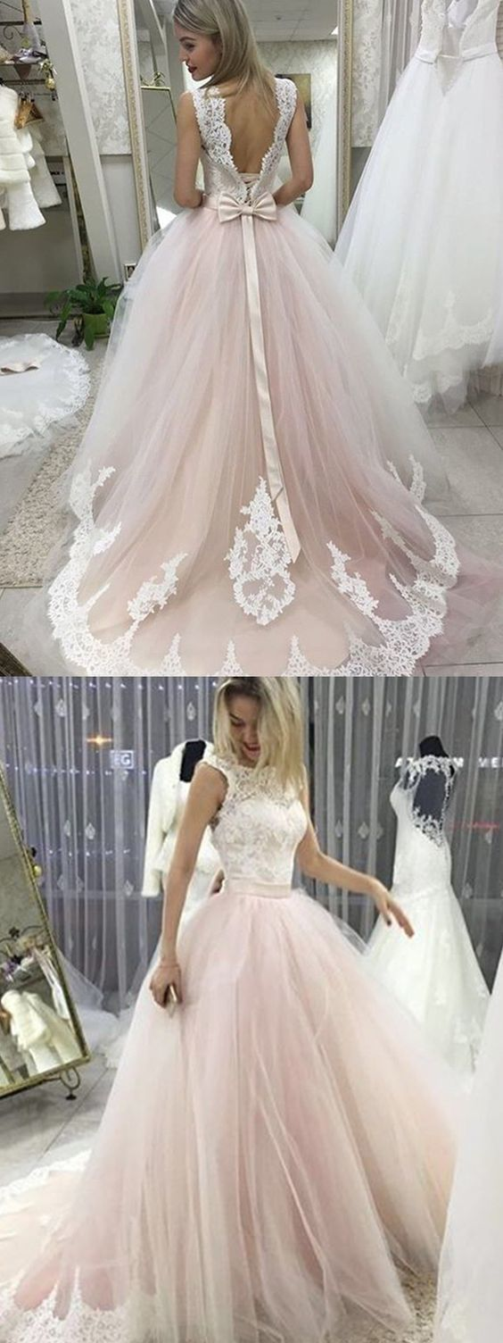Wedding dresses with train  Backless wedding dresses bowknot wedding dresses lace wedding