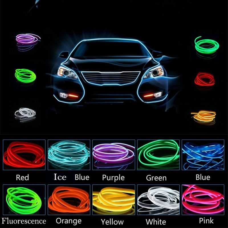 Auto Atmosphere Light Car Cold Light Wire Neon Decorative Lamp Decor For  TOYOTA Avensis Prius Avanza Camry Tarago